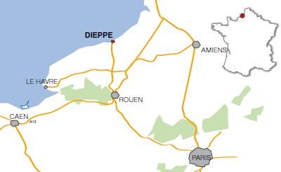 Situation de la ville de Dieppe